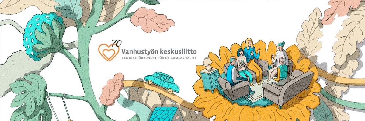 Vanhustyön keskusliiton juhlavuotta on kuvittanut taiteilija Terhi Ekebom.